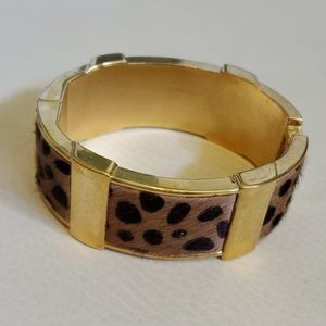J. Crew Calf Hair & Gold Cheetah Bangle Bracelet